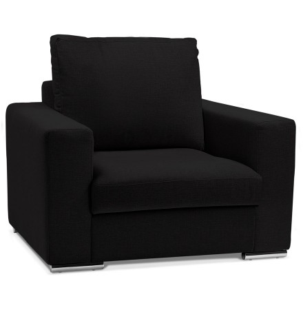 Fauteuil de salon 1 place 'LUCA MINI' en tissu noir