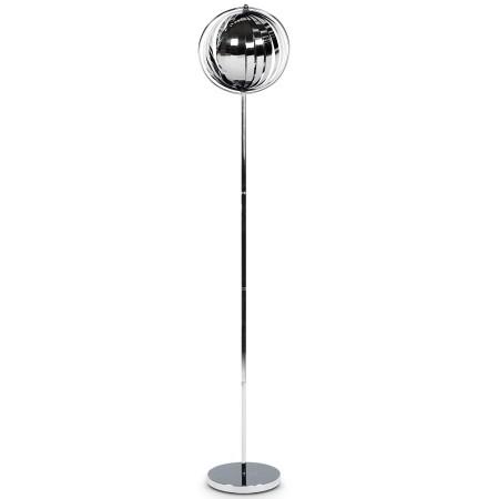 Lampadaire design 'LUNA' chrome avec lamelles flexibles en acier