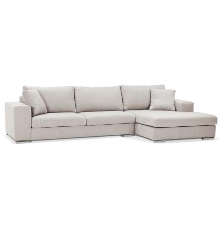 Canapé d'angle moderne 'LUCA L SHAPE' en tissu beige (angle à droite)