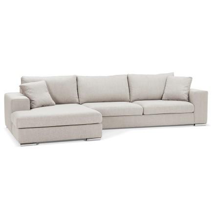 Canapé d'angle moderne 'LUCA L SHAPE' en tissu beige (angle à gauche)