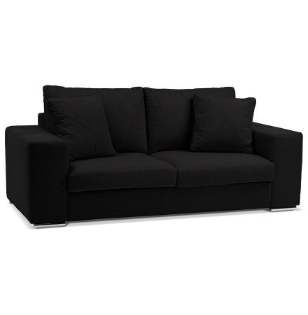 Canapé droit moderne 'LUCA MEDIUM' en tissu noir - Canapé 2 places