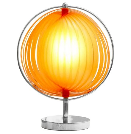 Lampe de table à poser 'LUNA' à lamelles plastique orange