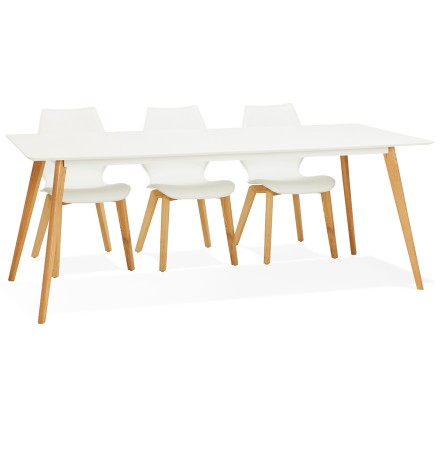Table à manger design 'MADY' blanche style scandinave - 200x90 cm