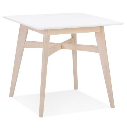 Table à diner carrée 'MAEVA' en bois blanc et finition naturelle - 80x80 cm