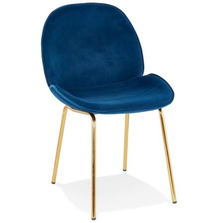 Chaise vintage 'MAGALY' en velours bleu et pieds en métal doré
