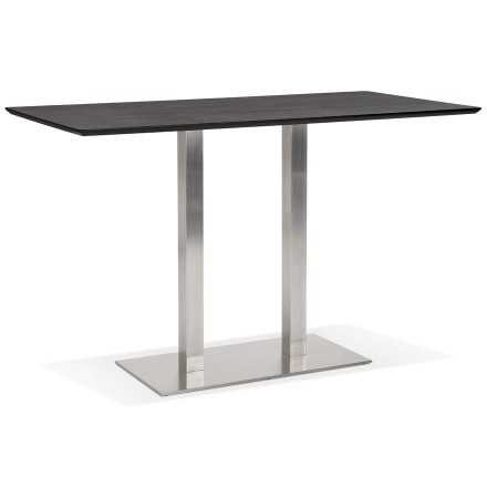 Table haute design 'MAMBO BAR' noire avec pied en métal brossé - 180x90 cm
