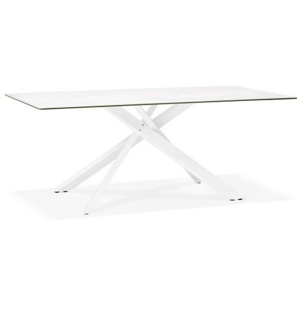 Table à diner 'MARKINA' en céramique blanche avec pied central en x blanc - 180x90 cm
