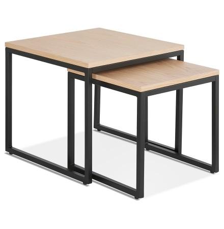 Set de 2 tables gigognes emboîtables style industriel 'MOMA' en bois finition naturelle et métal noir