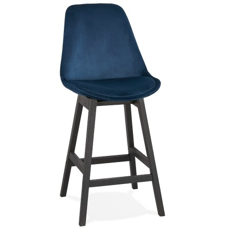 Tabouret snack mi-hauteur 'MORISS MINI' en velours bleu et pieds en bois noir