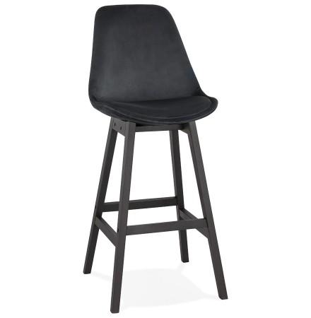 Tabouret de bar 'MORISS' en velours noir et pieds en bois noir