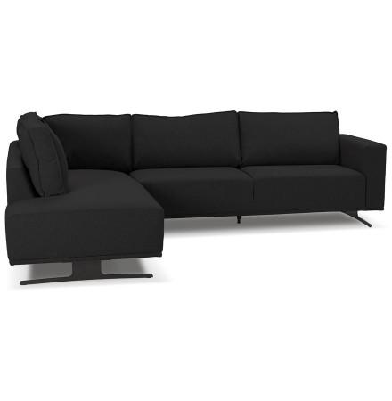 Canapé d'angle design 'MOZART LOUNGE' noir (angle à gauche)
