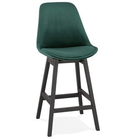 Tabouret snack mi-hauteur 'MORISS MINI' en velours vert et pieds en bois noir