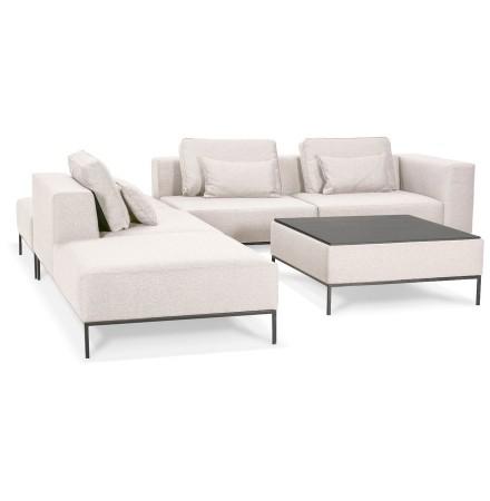 Canapé modulable 'NANY ANGLE' en tissu beige (angle à gauche)