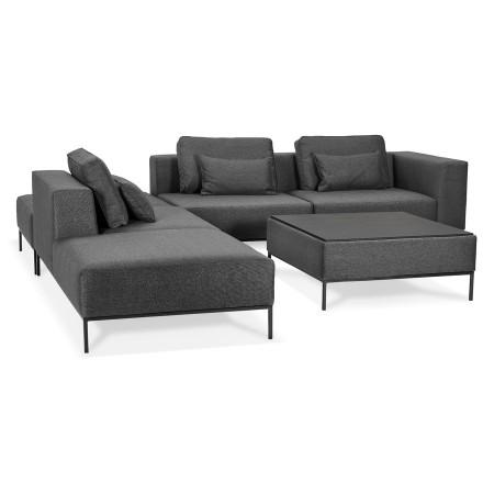 Canapé modulable 'NANY ANGLE' en tissu gris foncé (angle à gauche)