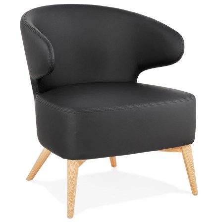 Fauteuil lounge 'NORMAN' noir et pieds en bois finition naturelle