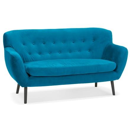 Canapé droit 2 places 'OPERA' en velours vert bleuté