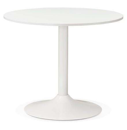 Petite table de bureau/à diner ronde ORLANDO blanche de 90 cm - Photo 1