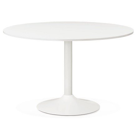 Table de bureau/à diner ronde ORLANDO blanche de 120 cm - Photo 1