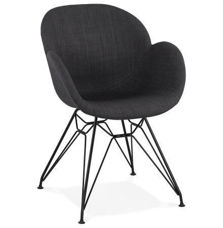 Chaise design 'PLANET' en tissu gris foncé avec pieds en métal noir