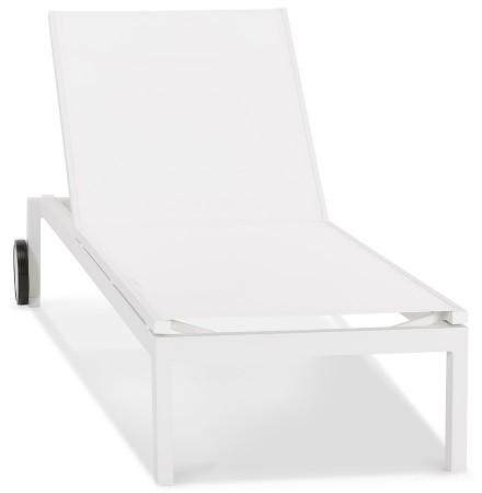 Chaise longue de jardin 'PREMIA' blanche - commande par 2 pièces / prix pour 1 pièce