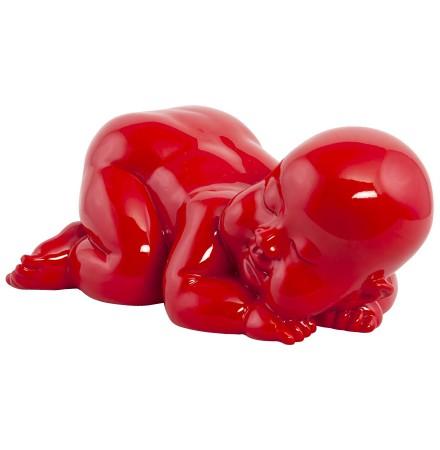 Statue déco 'REPO' bébé couché en polyrésine rouge