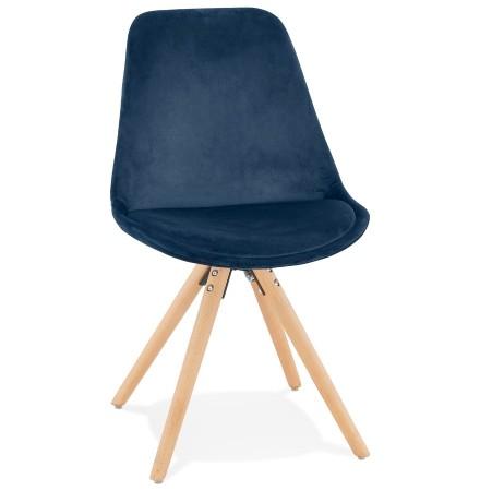 Chaise vintage 'RICKY' en velours bleu et pieds en bois naturel