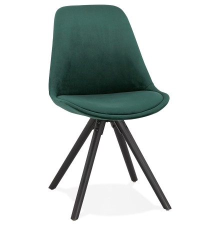 Chaise vintage 'RICKY' en velours vert et pieds en bois noir