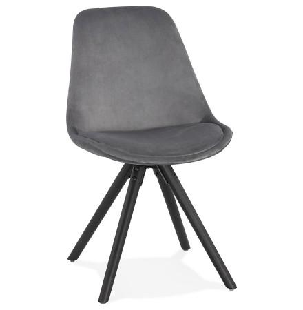 Chaise vintage 'RICKY' en velours gris et pieds en bois noir