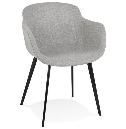 Chaise avec accoudoirs 'RIGA' en tissu gris clair