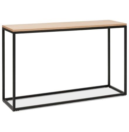 Table console style industriel 'RIVER' en bois finition naturelle et métal noir