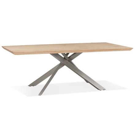 Table de salle à manger 'ROBINSON' en chêne massif avec pied en x en métal brossé - 200x100 cm