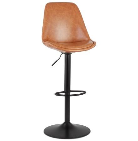 Tabouret réglable 'RODEO' en matière synthétique brune et pied noir