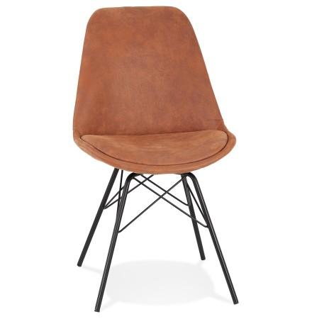Chaise design 'ROYAL' en microfibre brune et pieds en métal noir