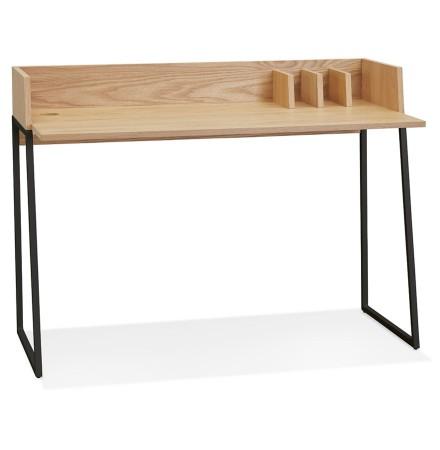 Bureau droit design 'SALMON' en bois finition naturelle et métal noir