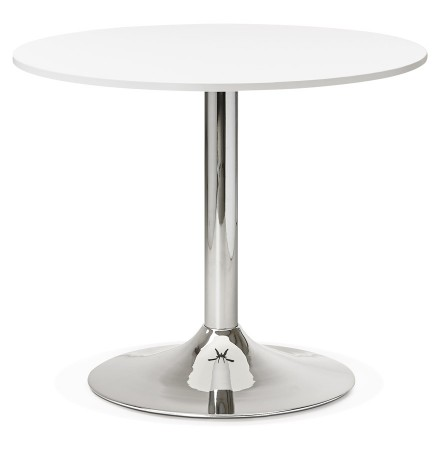 Petite table de bureau/à diner ronde SAOPOLO blanche - Photo 1