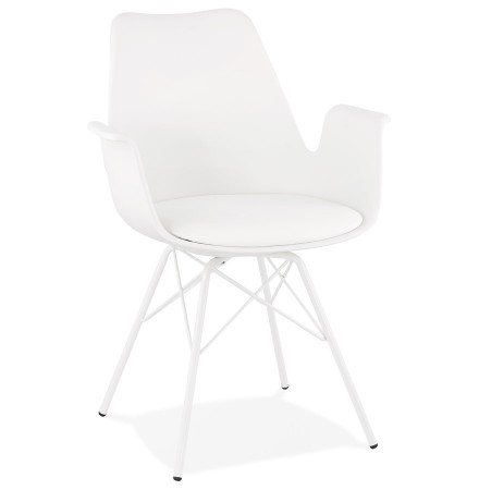 Chaise avec accoudoirs 'SALY' blanche style industriel