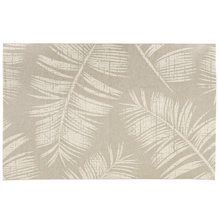 Tapis design 'SEQUOIA' 200x290 cm beige avec motifs feuilles de palmier - intérieur / extérieur