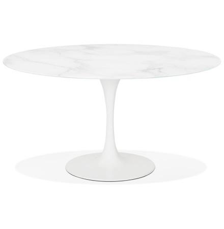 Table à manger design 'SHADOW' ronde blanche en verre effet marbre - Ø 140 CM