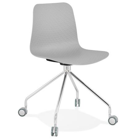 Chaise design de bureau 'SLIK' grise sur roulettes