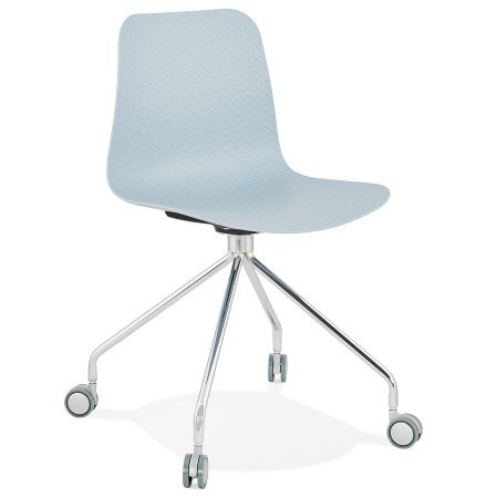 Chaise design de bureau 'SLIK' bleue sur roulettes