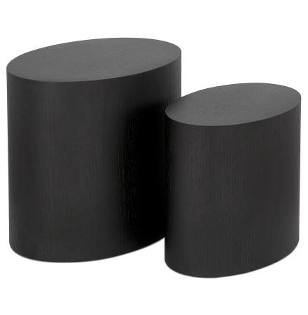 Set de 2 tables d'appoint 'SOKLE' en bois noir