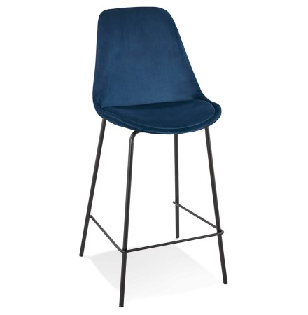 Tabouret snack mi-hauteur 'SPARK MINI' en velours bleu et pieds en métal noir