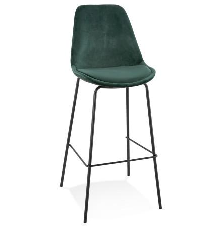 Tabouret de bar 'SPARK' en velours vert et pieds en métal noir