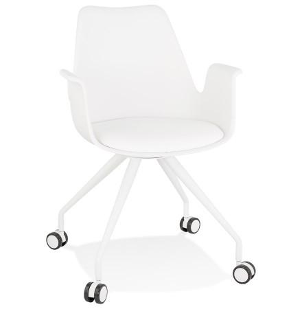 Chaise de bureau avec accoudoirs 'SPLIT' blanche sur roulettes