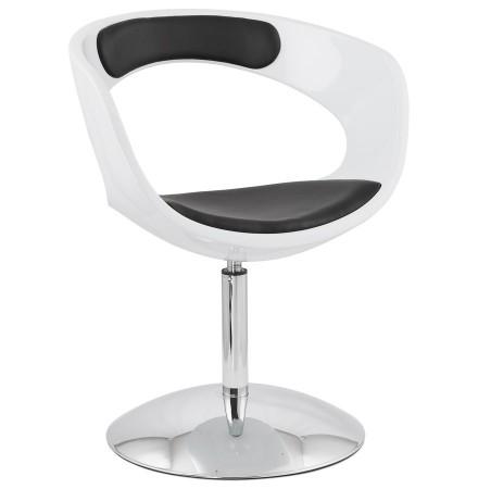 Siège design rotatif 'SPACE' noir et  blanc