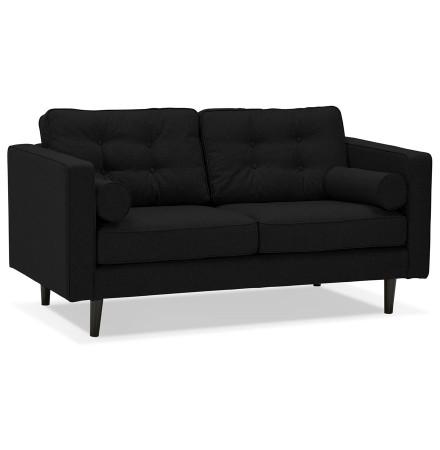 Canapé droit design 'STAGU' en tissu noir - Canapé 2 places
