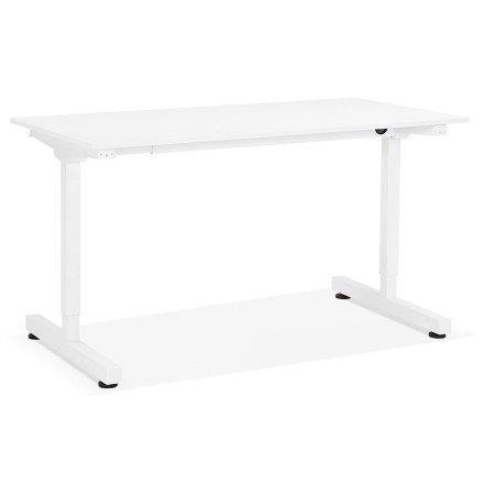 Bureau assis/debout droit 'STAND UP' blanc réglable en hauteur - 140x70 cm