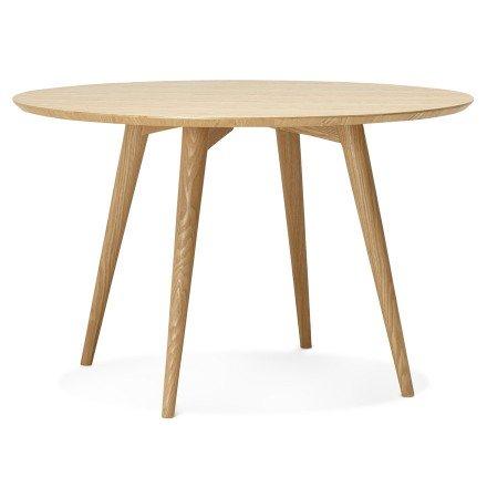 Table à dîner ronde 'SWEDY' en bois style scandinave - Ø 120 cm