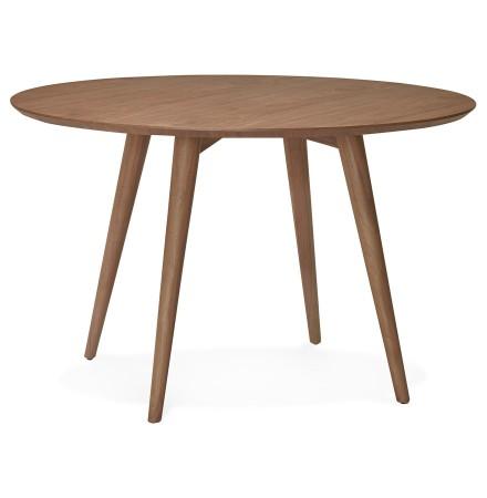 Table à dîner ronde SWEDY en bois Noyer style scandinave de 120 cm - Alterego