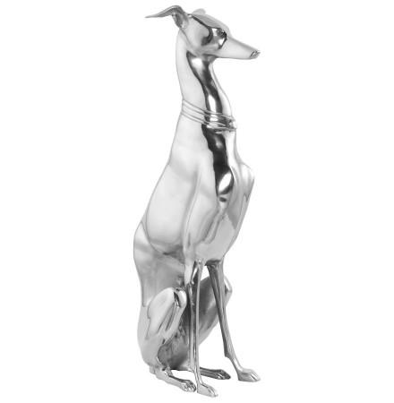 Statue déco 'TAZI' chien assis en aluminium